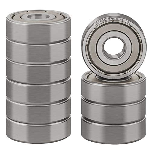XiKe 10 Pcs 627ZZ Double Metal Seal Bearings 7x22x7mm, Pre-Lubricated and Stable Performance and Cost Effective, Deep Groove Ball Bearings.
