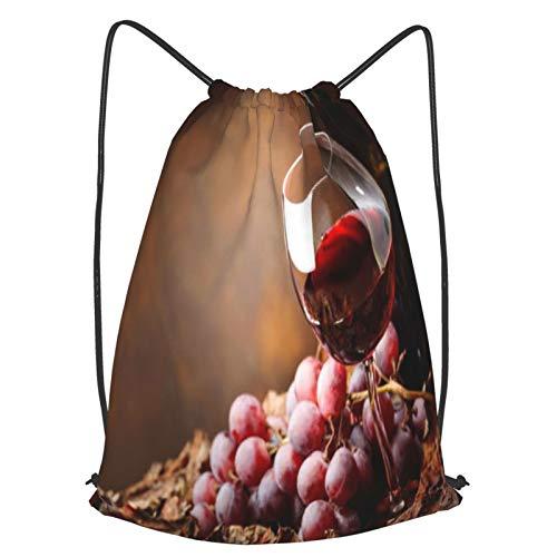 Mochilas de Cuerdas Unisex,copa y botella de vino,Impermeable Mochila con Cordón,adulto Niños exterior Mochilas Casual,yoga Bolsas de Gimnasia