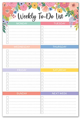 Sweetzer & Orange Floral Weekly to Do List Notepad. Magnetic Weekly Planner Pad with Daily Planner...