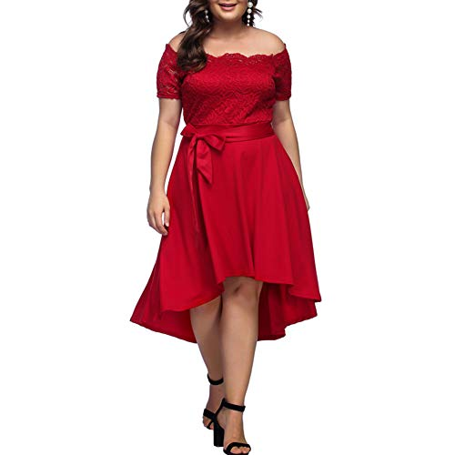 Lover-Beauty Mujeres Plus Size Maxi Cocktail Party Dress Polka Dot Off