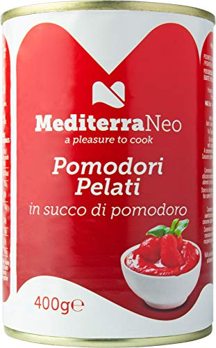 MediterraNeo - Tomates enteros pelados en lata, 400 g (paquete de 6)