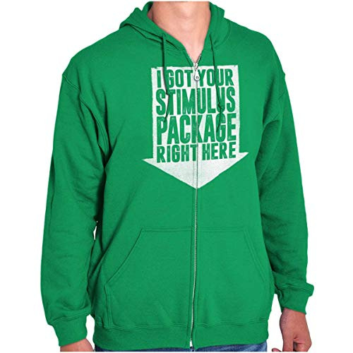 Brisco Brands Got Your Stimulus Package Funny Quarantine Zip Hoodie Irish Green