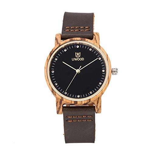 Women Wooden Watch,UWOOD Handmade Women Size Nato Nylon Strap Casual Sport Watches Wood Zebra Sandalwood Watch In Gift Box(Zebra)