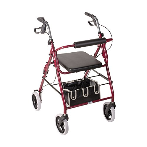 Duro-Med DMI Lightweight Adjustable Seat Height Aluminum Rollator Mobility Walker with Cushioned Backrest, Hand Brakes, Flip-Up Seat and Front Swivel Wheels, Burgundy