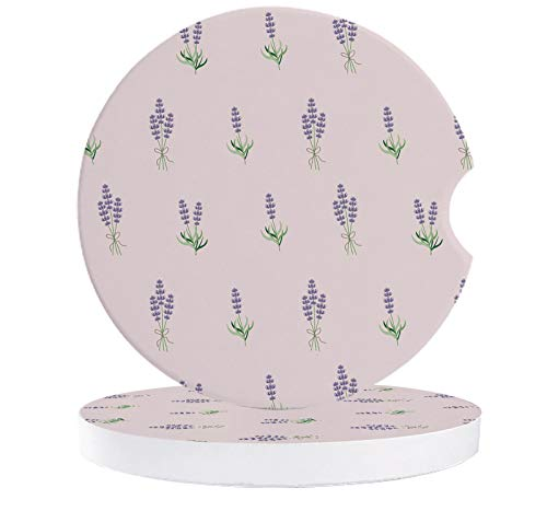 2 Pack Car Coasters for Drinks Absorbent,Lavender Floral Purple Illustrations Print Ceramic Car Cup Holder Coaster Removable Cute Auto Accessories, Keep Car Clean