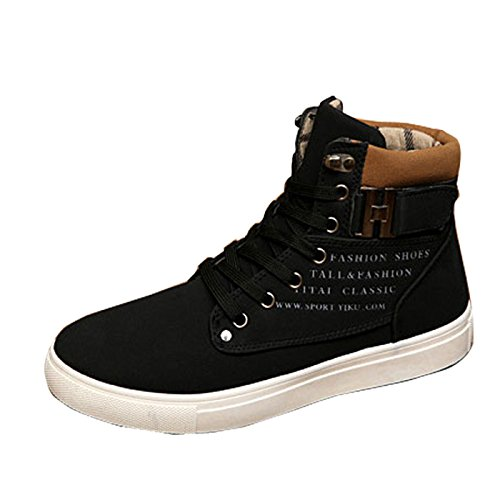 Gaorui Fashion Men Suede Martin Boots Lace up Loafers High Top Sneakers Ankle Shoes Black