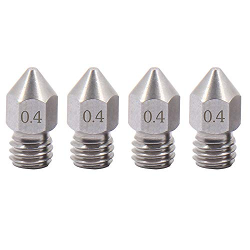 4pcs Sharp MK8 Stainless Steel Nozzle 0.4mm for 1.75mm Creality Ender 3 pro CR-10 Ender 3 Ender 4 Ender 5, CraftBot, Prusa i3, Anycubic 3D Printer (4pcs 0.4mm)
