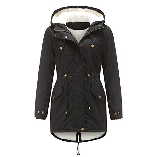 YYNUDA Damen Parka Winterjacke mit Kapuze aus Baumwolle Mantel Warme Fell Jacke Outdoor Lang
