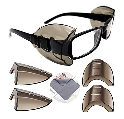 YUERR 2ペア 花粉症めがね 防塵 花粉カット メガネ 子供 花粉対策 メタルフレーム保護メガネ用サイドシールド かふんしょうのメガネ 曇らない 小から中のメガネフレームに適合1 PC眼鏡布付き(メガネは含まれていません)(4 個入り-M-暗褐色)
