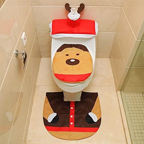 NRUTTBDCU Coprisedili e Tappetini per WC Natalizi con Babbo Natale per Decorazioni Natalizie Decorazioni per Il Bagno Copriserbatoio - Alce