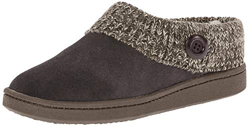 Clarks Women's Knit Scuff Leather Slipper Mules Grey Suede Slide (10, Grey)