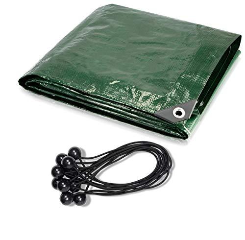 CoverUp! Lona Impermeable Exterior - 2 Lonas de 1,5 x 6 m [200 g/m2] + 20 Bolas Bungee, Lona de protección con Ojales para Muebles de jardín, Piscina, Coche, Camiones, Resistente a la Rotura