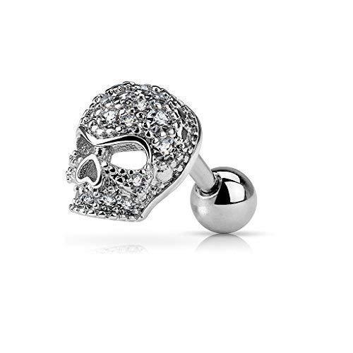 Tapsi´s Coolbodyart®  Piercing Tragus Helix Ohr Cartilage Edelstahl Chirurgenstahl 316L 6mm Zirkonia,Totenkopf Silber