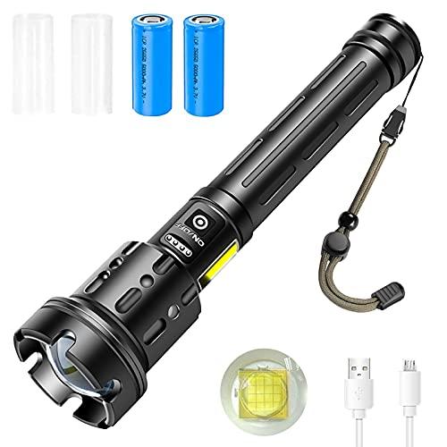 ASORT LED Taschenlampe Extrem Hell XHP160 LED 10000 Lumen P160 USB aufladbar mit Batterieanzeige, 7 Modi tragbare wasserdichte superhelle leistungsstarke COB-Taschenlampe (26650*2 Batterien enthalten)