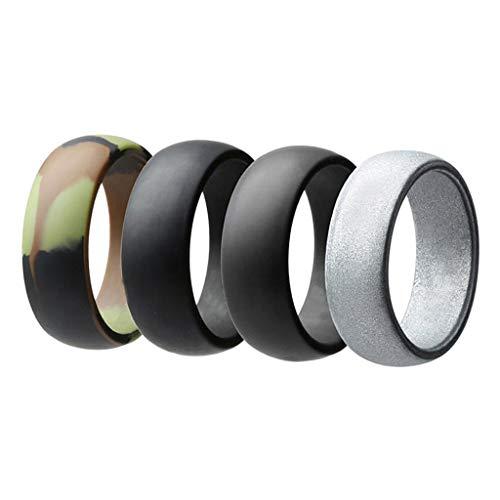 Baoblaze 4 peças 8 mm de largura flexível de silicone aliança de casamento