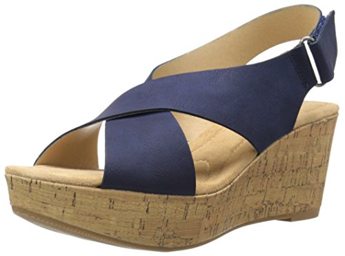 Price comparison product image Cl By Chinese Laundry Women's Dream Girl Wedge Pump Sandal,  Navy Nubuck