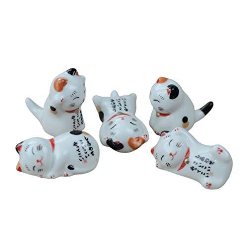 Garneck 5 Piezas de Palillos de Cerámica Descanso Estilo Japonés Gato de La Suerte Palillos Titular Cuchara Tenedor Cuchillo Vajilla Soporte para Regalo de Cocina Casera (Estilo Mixto)