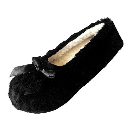 Tootsies Damen Damen Mädchen schneiden Pile Design Ballerina Style Slipper Pantoffeln mit warmen gemütlichen Korallen Fleece Futter und Grip Sohlen