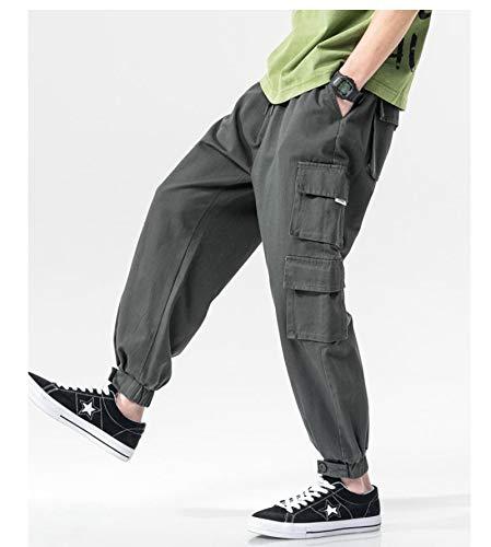 haochenli188 Pantalones Casuales Harlan Negros para Hombre, Pantalones De Fitness para Correr De AlgodóN Hip-Hop, Moda Coreana, Ropa De Calle, Pantalones Harajuku XXXL Gris
