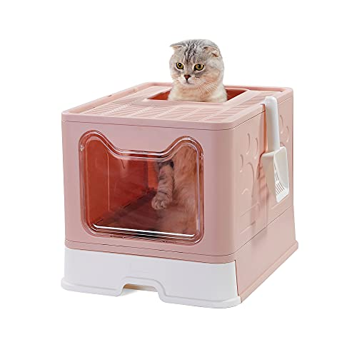 Suhaco Large Cat Litter Box with Lid Foldable Top Entry Cats Litter Boxes Kitten Toilet with Plastic Scoop (Pink)