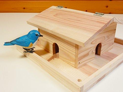 野鳥用餌台(バードフィーダー)かわいいお家型のハウスタイプ(完成品)屋根開きタイプでお掃除も楽々【YE100】