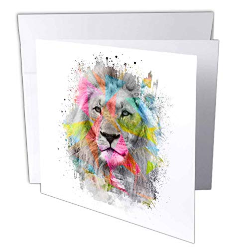 """3dRose Majestic Male Lion Portrait with Colored Polygons - Greeting Card, 6"""" x 6"""", Single (gc_255087_5)"""