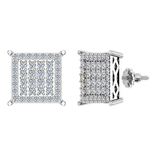 Pendientes de diamante cuadrado de 1,00 ctw en oro blanco de 14 quilates
