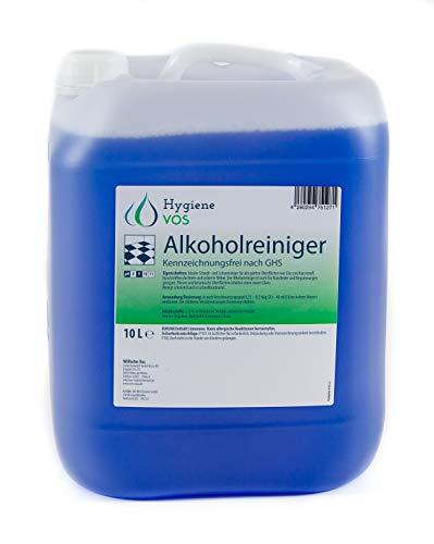 Hygiene VOS Limpiador Multiusos de Alcohol con Fragancia Citrus, Envase de 10 litros. Para Superficies Lisas como Vidrio, Plástico, Acero Inoxidable, Azulejos, Muebles Lacados o Cuero Sintético