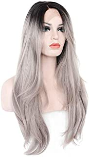 Women Straight Hair front lace wig deep invisible part Natural Hairline Hair wig for ladies,gray 306