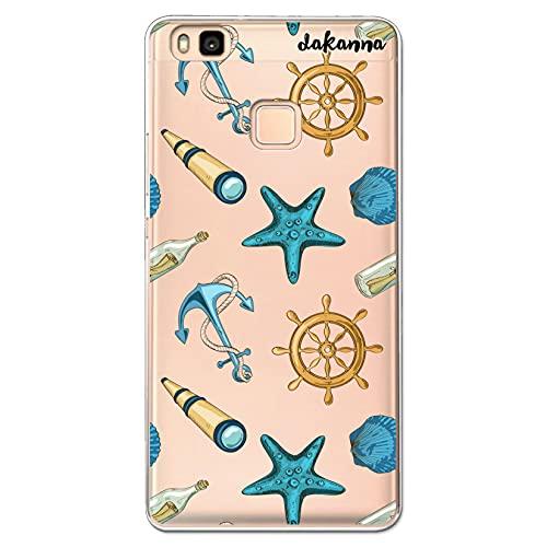 dakanna Funda Compatible con [ Huawei P9 Lite ] de Silicona Flexible, Dibujo Diseño [ Estampado de Figuras náuticas ], Color [Fondo Transparente] Carcasa Case Cover de Gel TPU para Smartphone