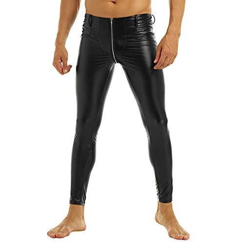 inhzoy Herren Wetlook Leggings Latex Pantyhose Lederoptik Hose Tights Zip Pants Clubwear Schwarz Schwarz XL