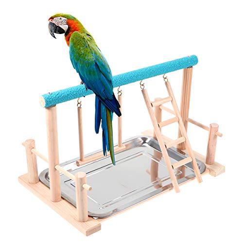 POPETPOP Aves Juego Stand - Corral de Aves de Madera del Patio Loro playstand Perca pájaro Parque Infantil Escalera Gimnasio con Juego Juguetes Ejercicio