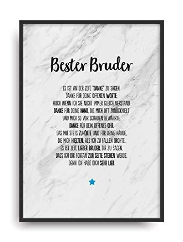 Geschenk Karte BESTER BRUDER Kunstdruck Ehrentitel Geschwister Auszeichnung Bild ohne Rahmen DIN A4