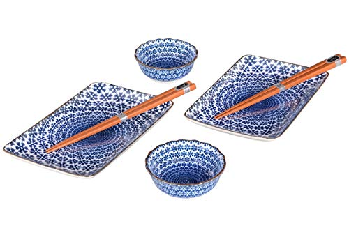 tea4chill Sushi Set aus Japan mit edlem Sternmuster in blau. Bestehend aus 2 Sushiteller, 2 Saucenschälchen und 2 Essstäbchen in eleganter Geschenkbox.