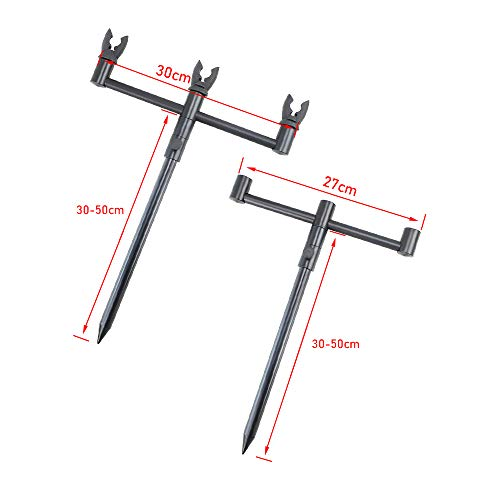 Carp Fishing Rod Pod Set Buzz Bars, Bank Sticks With 3 Rod Rest Head In Portable Tackle Bag (22-35CM)