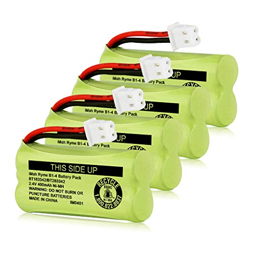 iMah BT183342/BT283342 2.4V 400mAh Ni-MH Battery Pack, Also Compatible with AT&T VTech Cordless Phone Batteries BT166342/BT266342 BT162342/BT262342 2SN-AAA40H-S-X2, Pack of 4