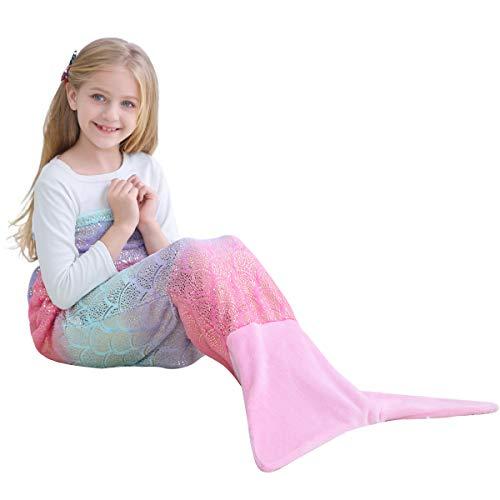 VHOME Kinder Meerjungfrau Decke Geschenke Beste - Personalisierte Warmes Wohnzimmer Sofa Decke Schlafsack Spielzeug Jugend Für Weihnachts Geburtstagsgeschenk (V1-Goldrosa, Kinder 145cm x 60cm)