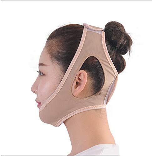 AQWESD Bande Amincissante pour Le Visage, Bandage pour Le Visage Mince Respirant Sommeil Mince Double Menton Lift Anti-Rides V Face Artefact Bunch Face Facial Lifting Belt (Couleur: Peau)