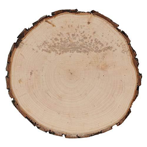 B-Ware Holzbrett Rindenbrett Esche rund - Rindenscheibe Baumscheibe geschliffen, Brettgröße:Ø ca. 18cm
