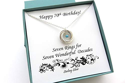 70th Birthday Sterling Silver Necklace with Birthstone