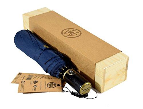 """Premium Quality marca automatico ombrello blu   Large Size 23"""" pieghevole Canopy   Anti-UV   Auto Open Chiudi   Regalo di compleanno   Anniversario regalo per gli uomini delle donne delle signore delle ragazze   Ben confezionato in una scatola di legno pin"""