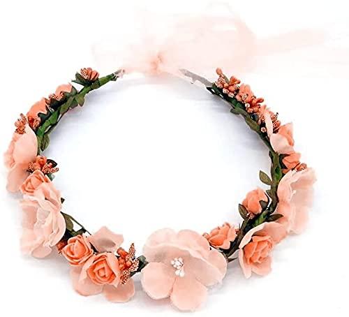 Diadema de Flor, Corona de Hadas Flores con Cinta Ajustable para niñas (Naranja)