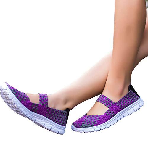 DirkFigge - Zapatillas de Deporte para Mujer (Tejido a Mano, sin Cordones, Ligeras, elásticas, para el Verano), Morado, 38