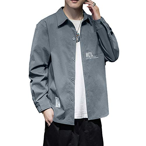 Zestion Camisa de Solapa para Hombre Moda Bloqueo de Color Patchwork Costura Camisa Holgada de Gran tamaño Chaqueta Informal con Botones 4X-Large