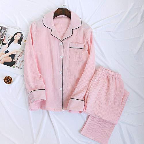 STJDM Bata de Noche,Pijama de Mujer de Color Puro con Estrellas Simples, Conjuntos de Pijama de algodón crepé japonés de Manga Larga, Ropa de hogar Fresca, Pijama de Mujer L SolidPink