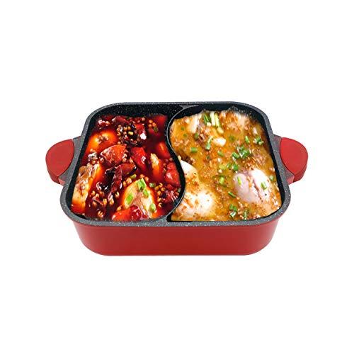 Piedra médica Shabu Shabu Hot Bot Red 2 Grid 2 Taste Yin y Yang Hot Bot Espesar mandarina antiadherente pato de pato Adecuado para 4-5 personas