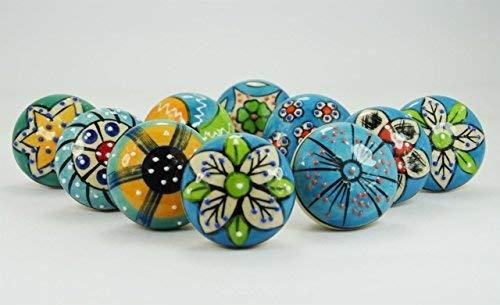 10 pieces set of Sky Blue Color Ceramic Knobs Drawer Pullover with Different Design & Chrom Hardware by JSR