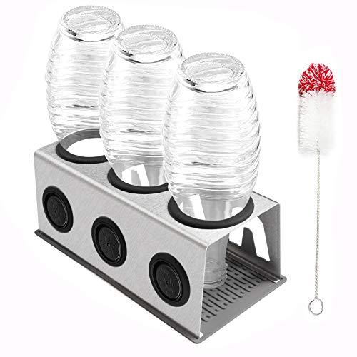 Cutemelo Premium Flaschenhalter aus Edelstahl für SodaStream Glasflaschen mit 3er Abtropfhalter für z.B. Crystal und Pinguin und andere Glasflaschen mit Flaschenbürste und Abtropfmatte (Silber)
