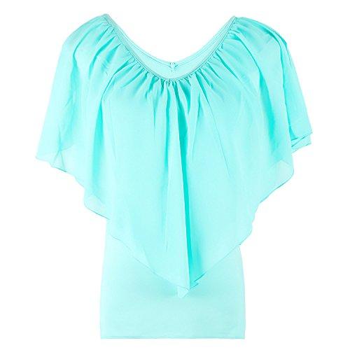Casue vrouwen chiffon blouse tops losse casual kanten Batwing korte flattern mouwen T-shirt blouse, Large, legergroen