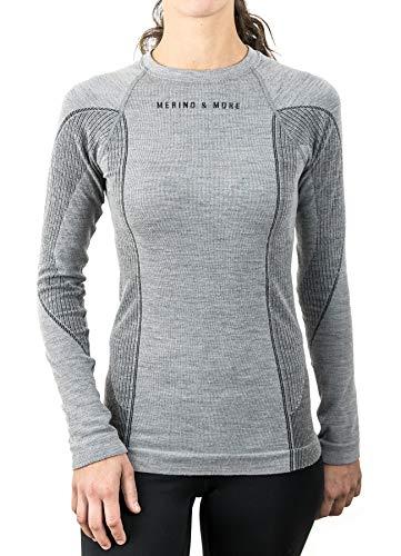 Merino & More Merino Shirt Damen Langarm - Premium Funktionsunterwäsche aus Merinowolle - Sport - Langarm - Funktionsunterhemd schwarz-grau Gr. S